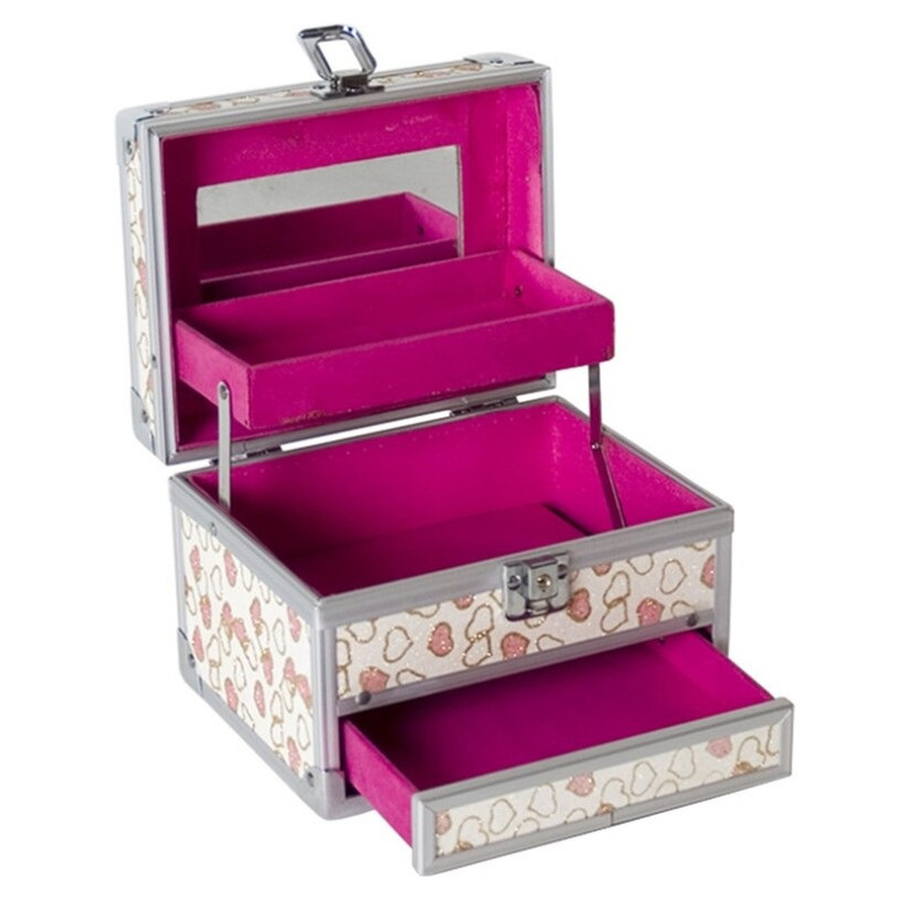 Roze luxe make up-sieraden opbergkist met hartjes 18 x 14 x 18 cm