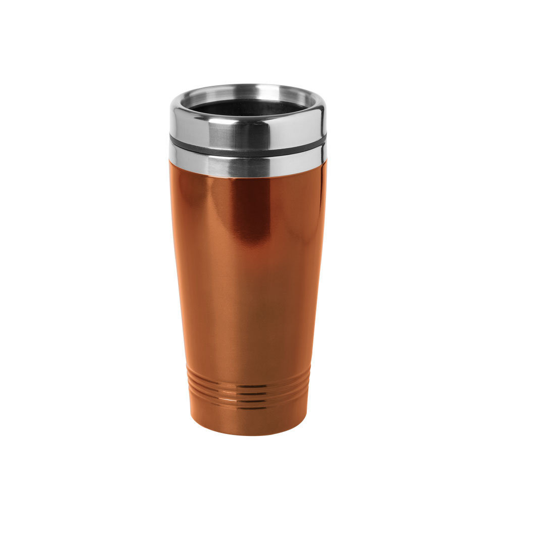 RVS Warmhoudbeker-warm houd beker metallic oranje 450 ml
