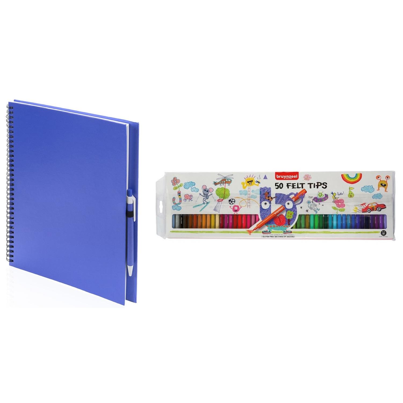 Schetsboek-tekenboek blauw met 50 viltstiften