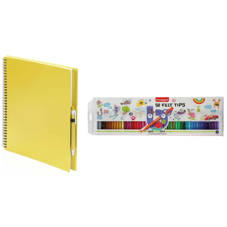 Schetsboek-tekenboek geel met 50 viltstiften