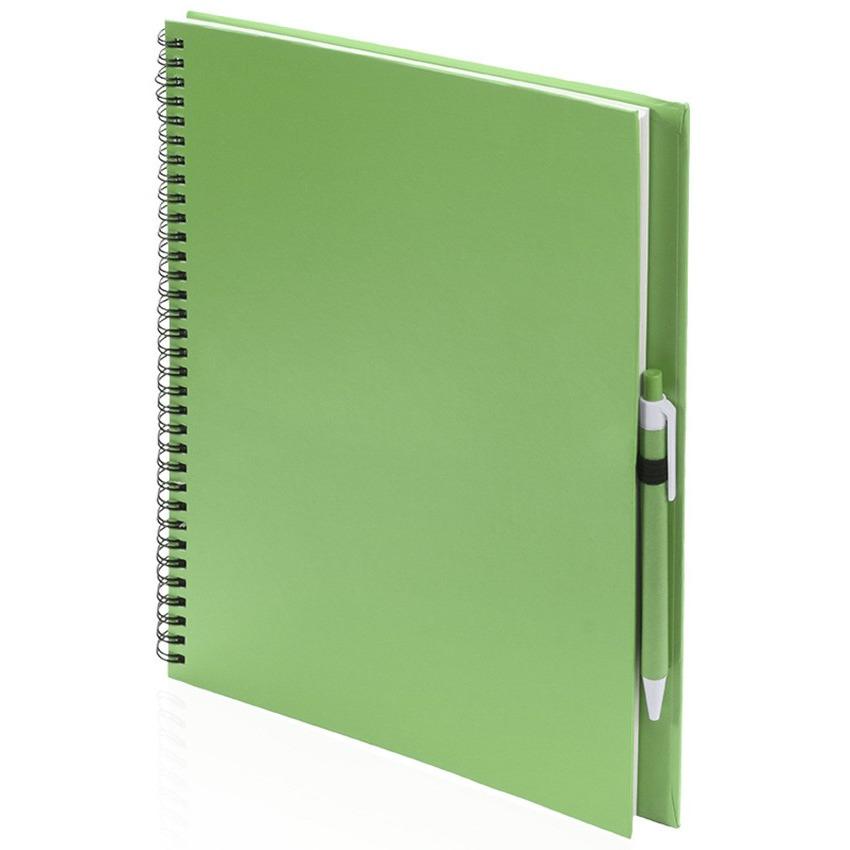Schetsboek-tekenboek groen A4 formaat 80 vellen inclusief pen