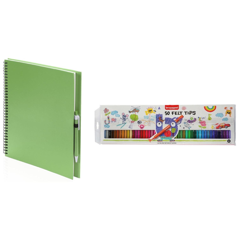 Schetsboek-tekenboek groen met 50 viltstiften