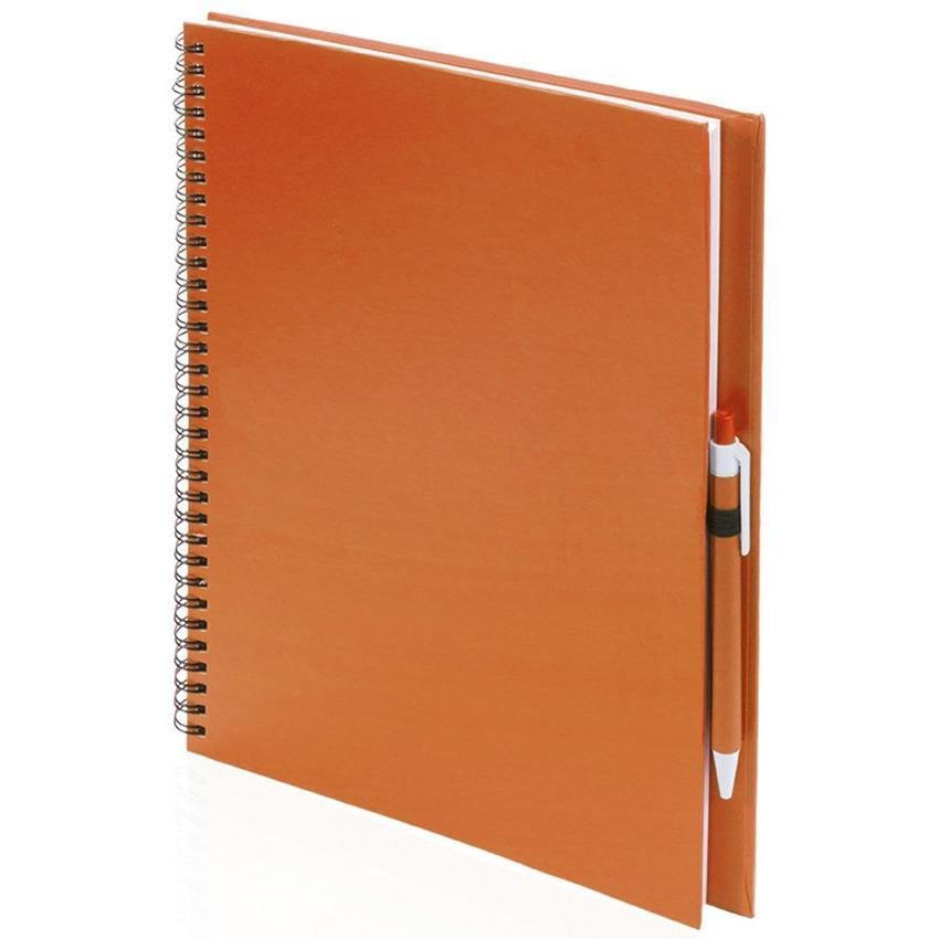 Schetsboek-tekenboek oranje A4 formaat 80 vellen inclusief pen