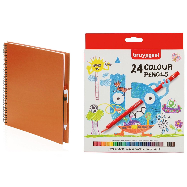 Schetsboek-tekenboek oranje met 24 kleurpotloden