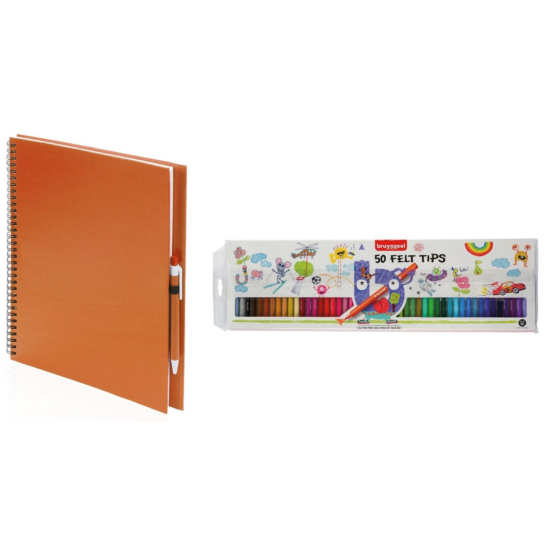 Schetsboek-tekenboek oranje met 50 viltstiften