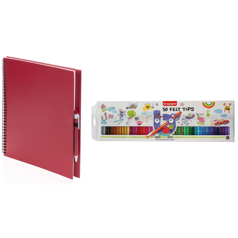 Schetsboek-tekenboek rood met 50 viltstiften