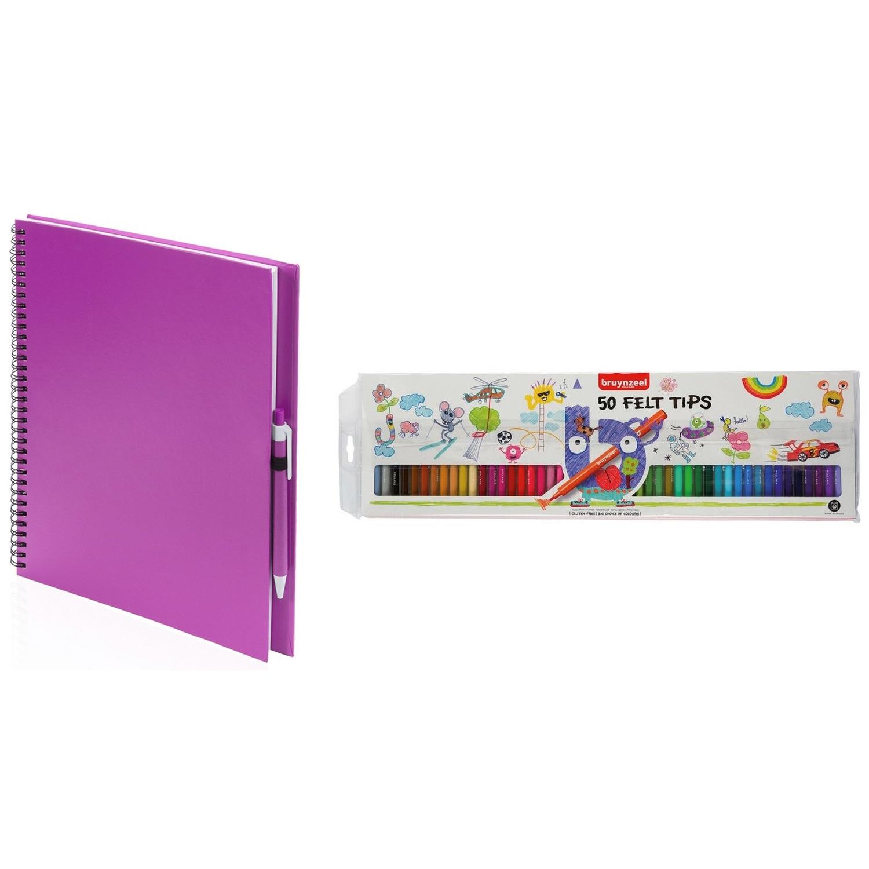 Schetsboek-tekenboek roze met 50 viltstiften