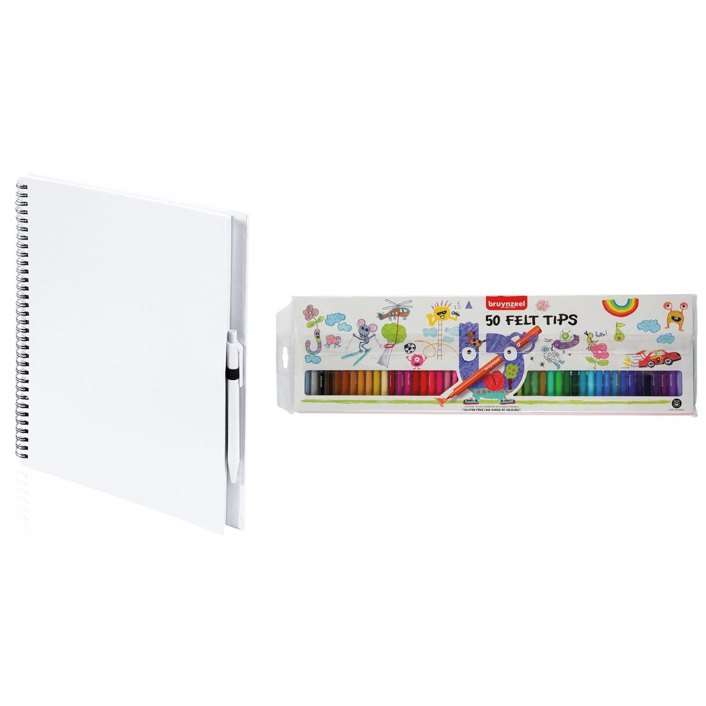 Schetsboek-tekenboek wit met 50 viltstiften