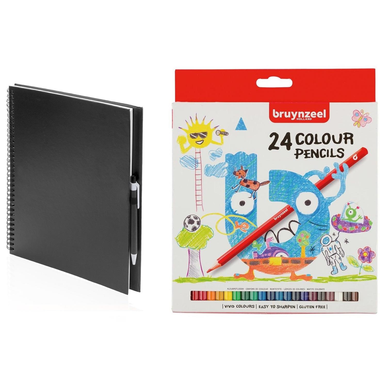 Schetsboek-tekenboek zwart met 24 kleurpotloden