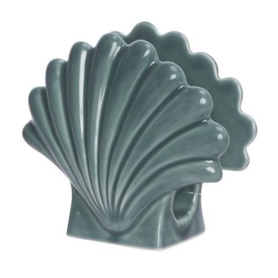 Servethouder-servetten dispenser schelp porselein 12 x 13 cm