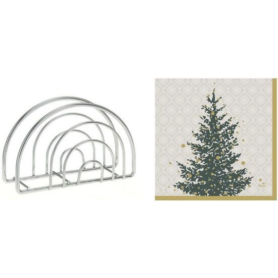 Servettenhouder met kerst servetten grijs-goud kerstbomen