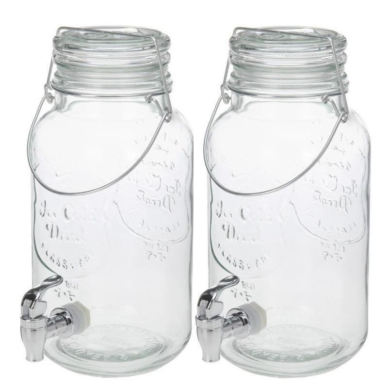 Set van 2 stuks glazen drank dispensers van 4 liter met hengsel
