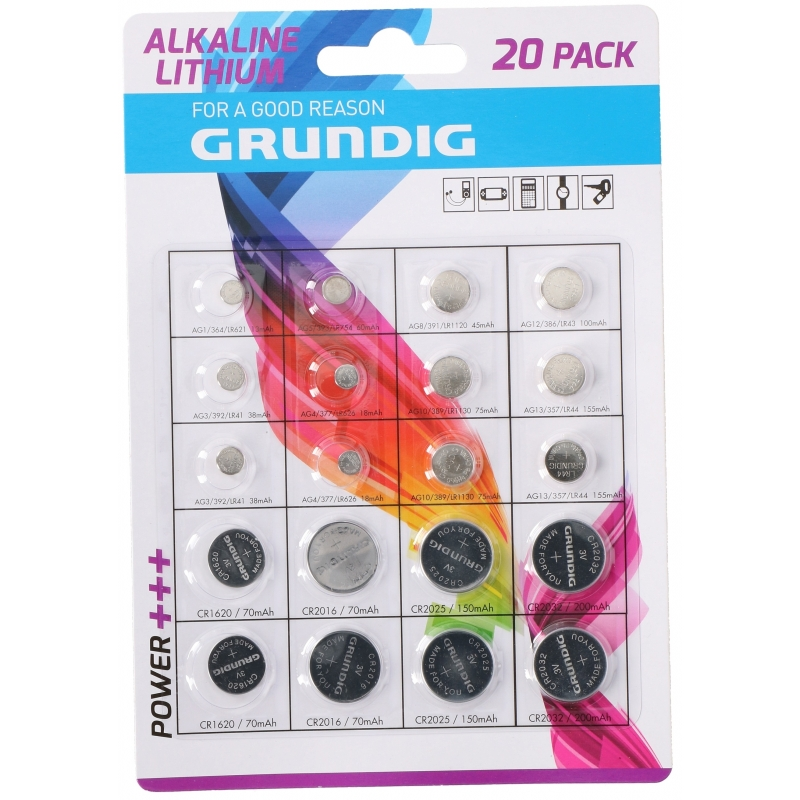 Set van 20 Grundig knoopcel batterijen