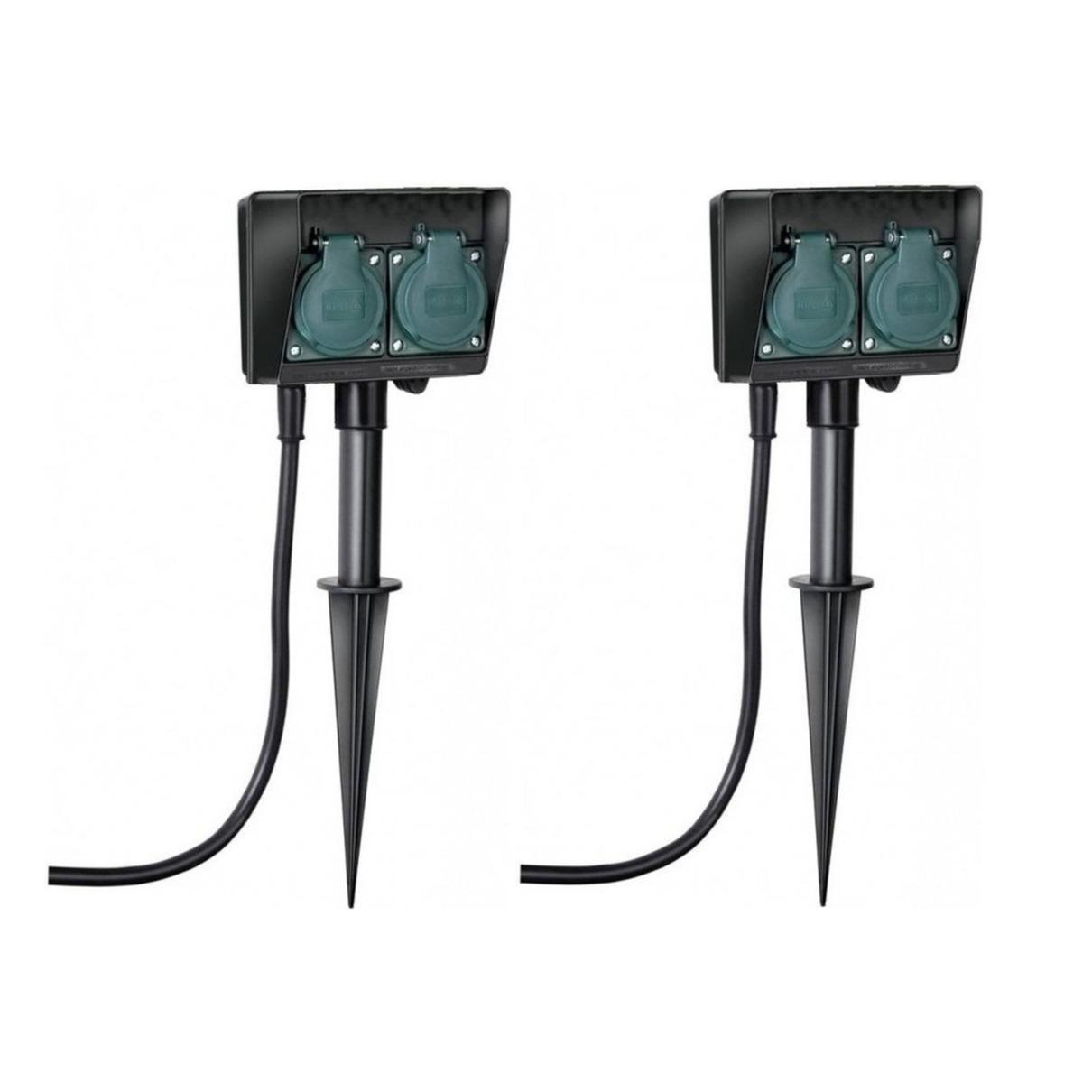 Set van 2x stuks buiten stekkerdoos-stopcontact op spies dubbel