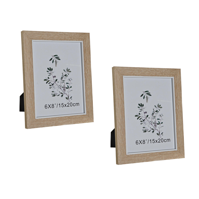 Set van 2x stuks fotolijstjes naturel geschikt voor een foto van 15 x 20 cm