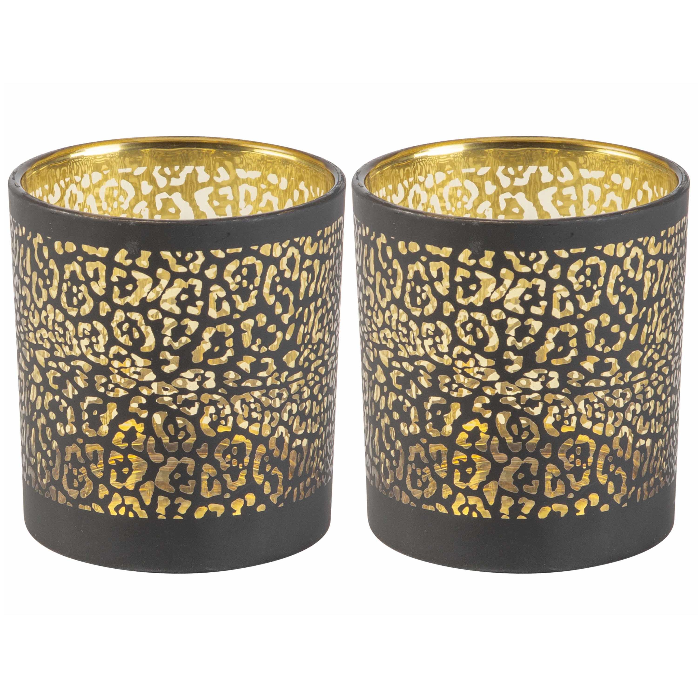 Set van 2x stuks theelichthouders-waxinelichthouders glas zwart luipaard print 8 cm
