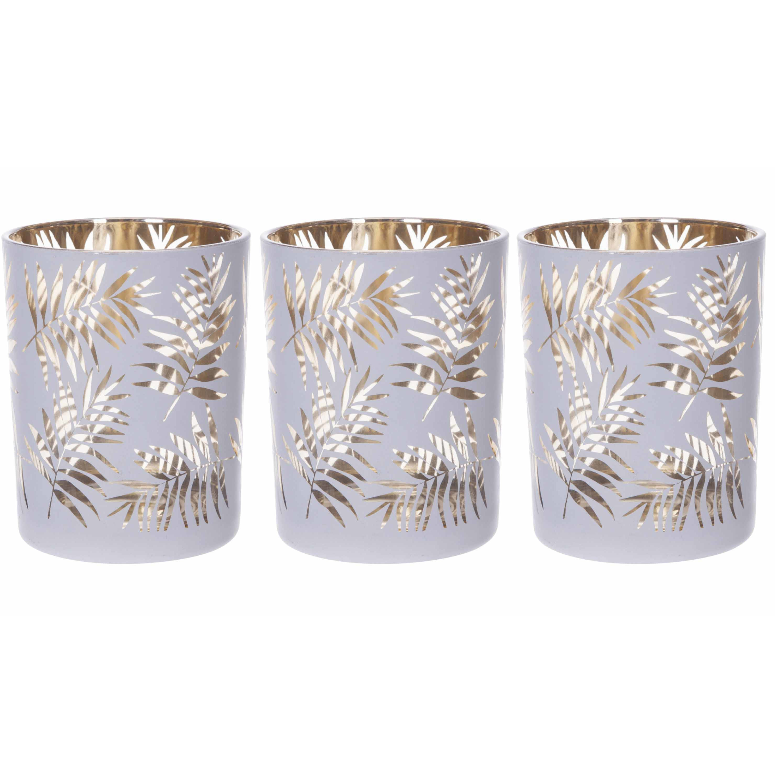 Set van 3x stuks theelichthouders-waxinelichthouders glas wit-goud bladeren print 12,5 cm