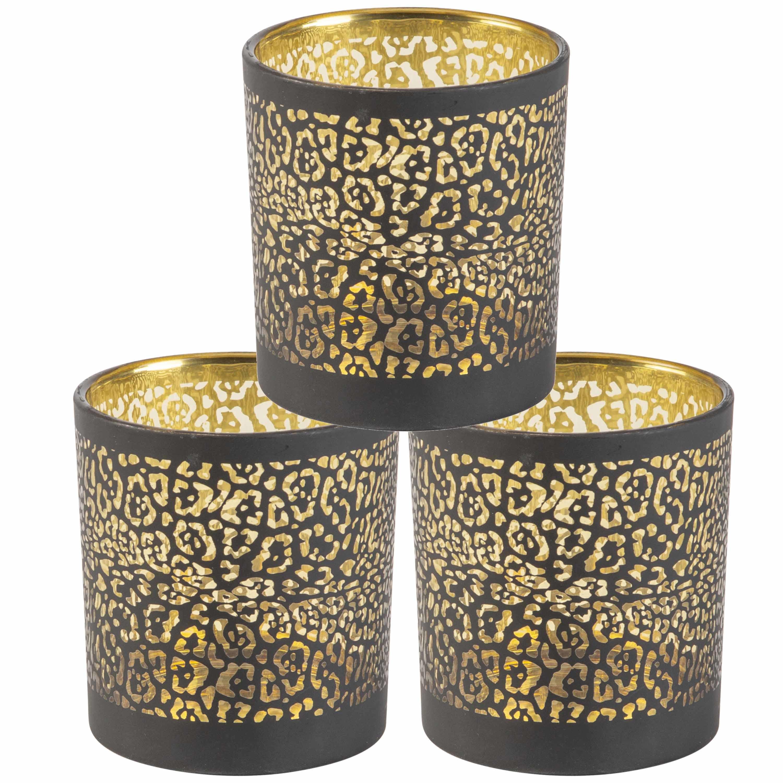 Set van 3x stuks theelichthouders-waxinelichthouders glas zwart luipaard print 8 cm