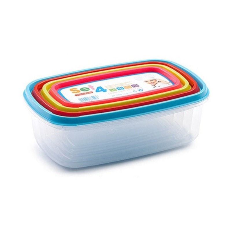 Set van 4x stuks voedsel opslagbakjes met deksel diverse formaten