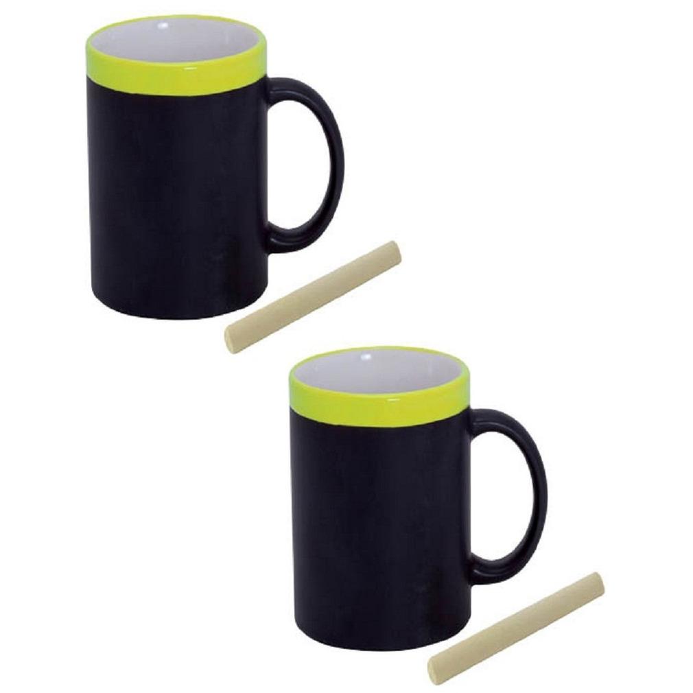 Set van 8x stuks krijt mokken in het geel beschrijfbare koffie-thee mokken-bekers