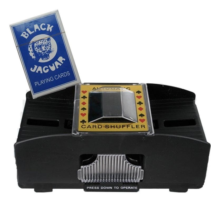 Set van Kaartenschudmachine op batterijen-speelkaarten