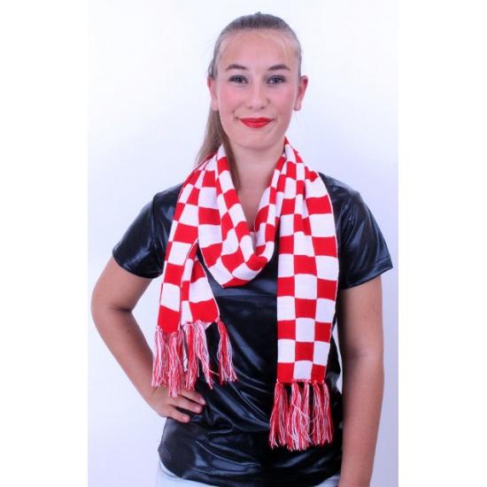 Sjaal rood-wit geblokt 160 x 17 cm