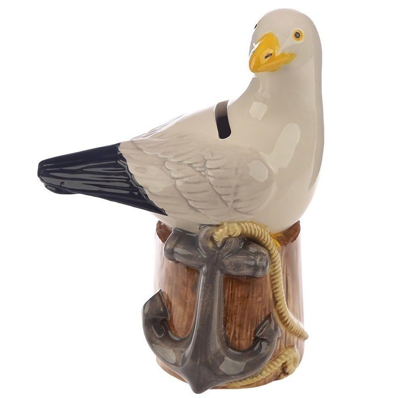 Spaarpot vogel beeldje zeemeeuw 14 cm