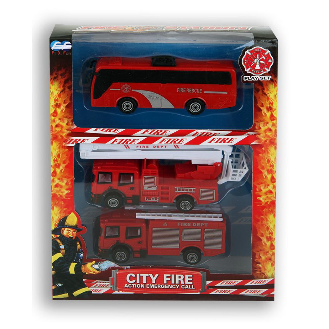 Speelgoed auto brandweerwagen set 13 cm