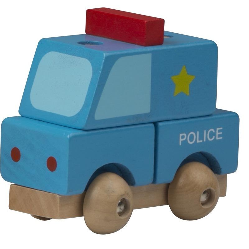 Speelgoed politie auto hout 9 cm