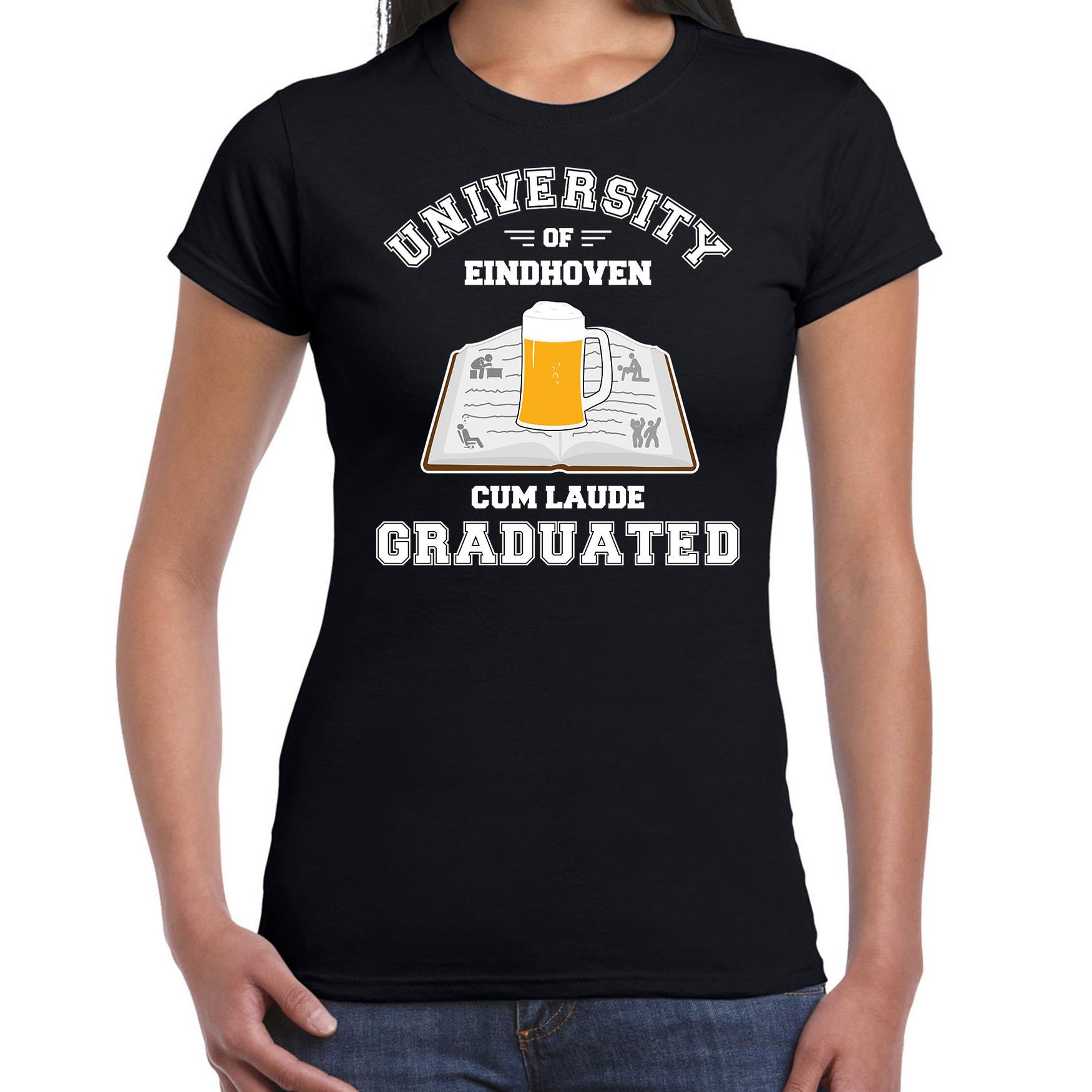 Studenten carnaval t-shirt zwart university of Eindhoven voor dames