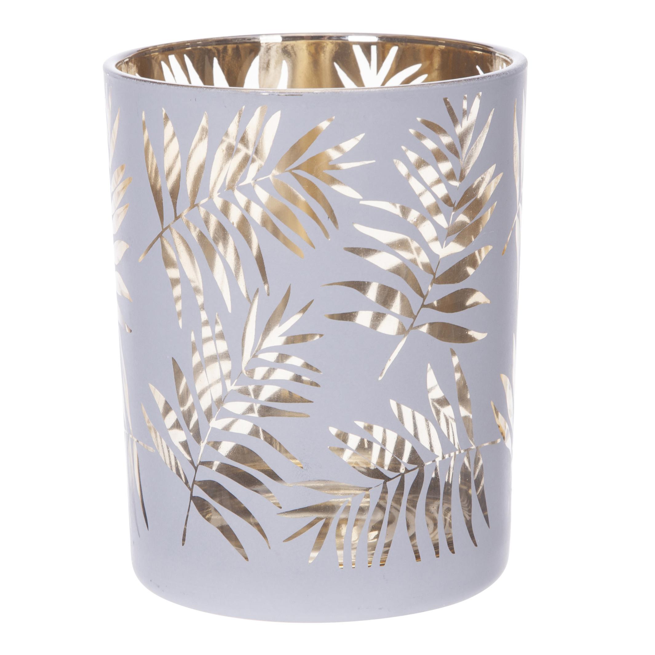 Theelichthouders-waxinelichthouders glas wit-goud bladeren print 12,5 cm