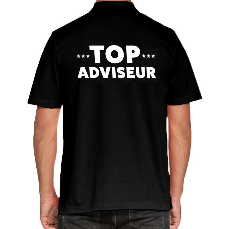 Top adviseur beurs-evenementen polo shirt zwart voo