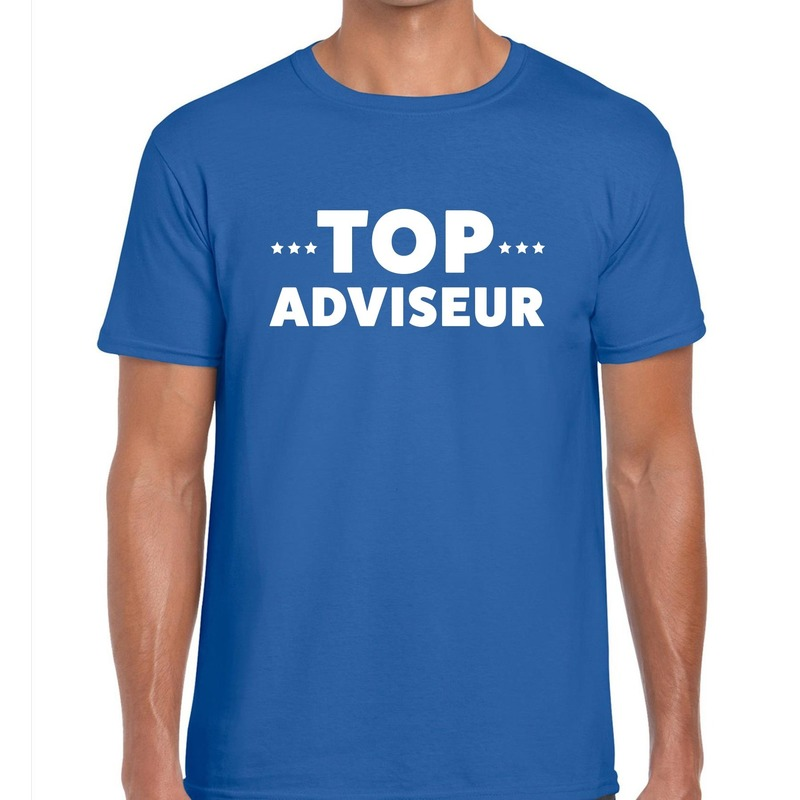 Top adviseur beurs-evenementen t-shirt blauw heren