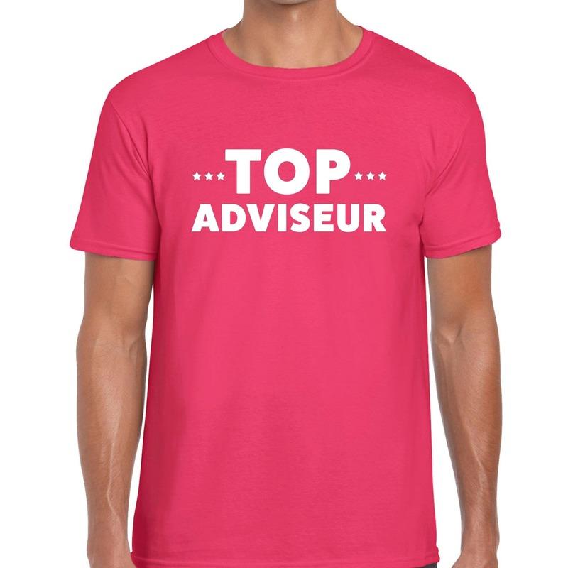 Top adviseur beurs-evenementen t-shirt roze heren