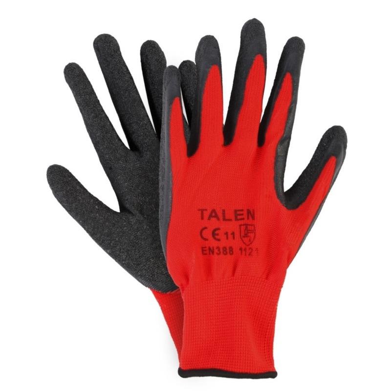 Tuinwerkhandschoenen-werkhandschoenen rood-zwart maat XL