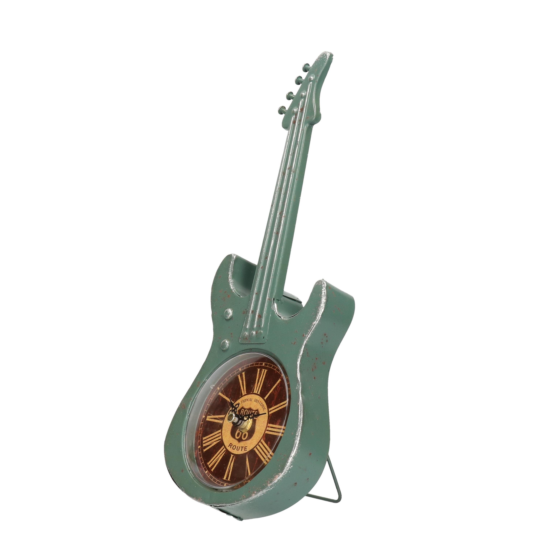 Turquoise elektrische gitaar klok 34 cm