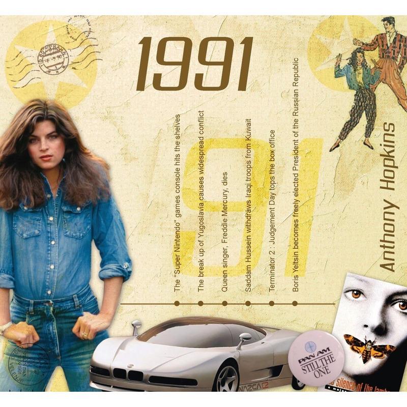Verjaardagskaart 30 jaar met muziek uit 1991