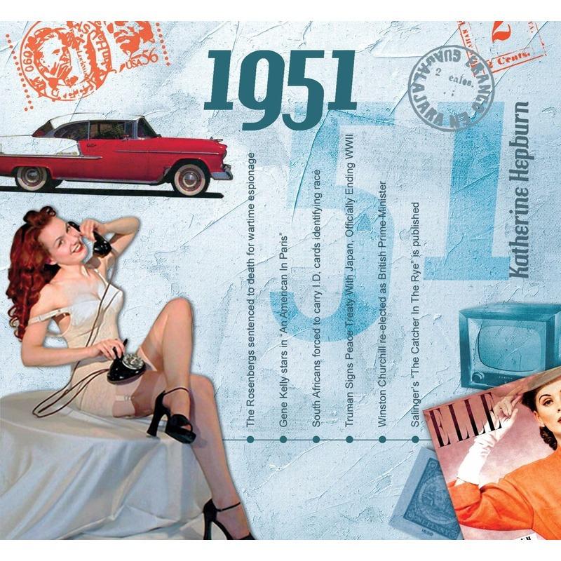 Verjaardagskaart 70 jaar met muziek uit 1951