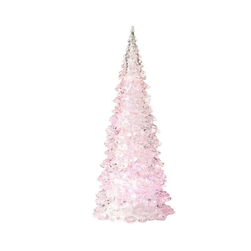 Verlichte figuren kerstboom lamp roze 22 cm