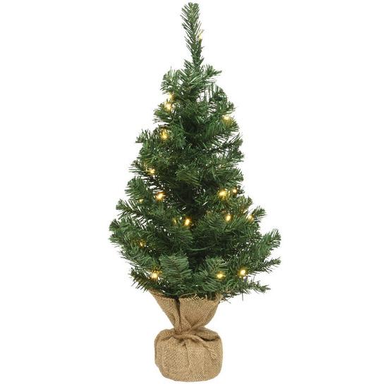 Volle mini kerstbomen groen in jute zak met verlichting 45 cm