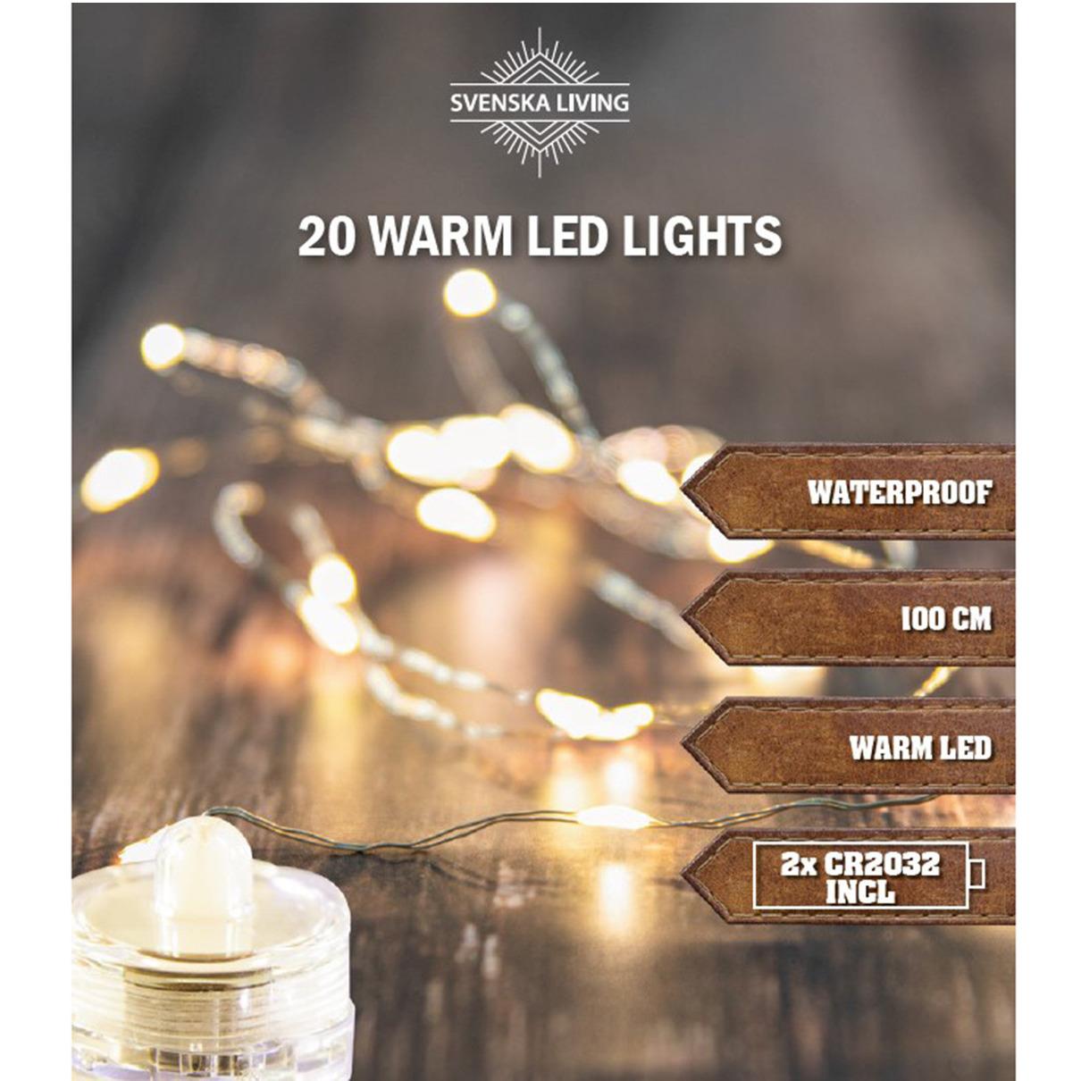 Waterproof verlichting lichtdraad op batterij 20 warm witte lampjes