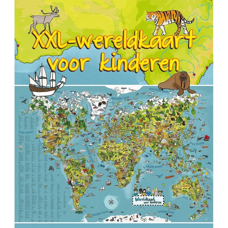 Wereldkaart dieren XXL voor kinderen