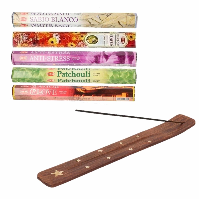 Wierrook geuren pakket van 5x verschillende geuren met een brander plankje