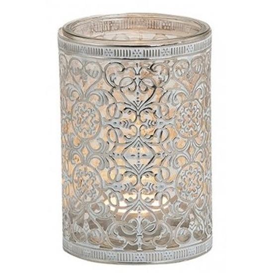 Windlicht theelicht houder zilver antiek 12 cm