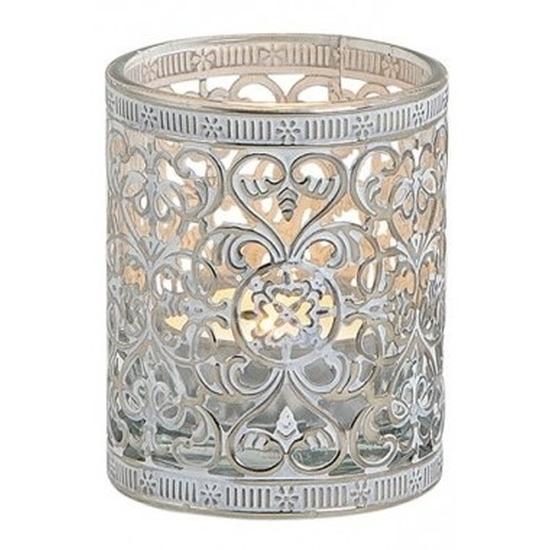 Windlicht-theelicht houder zilver antiek 7 cm