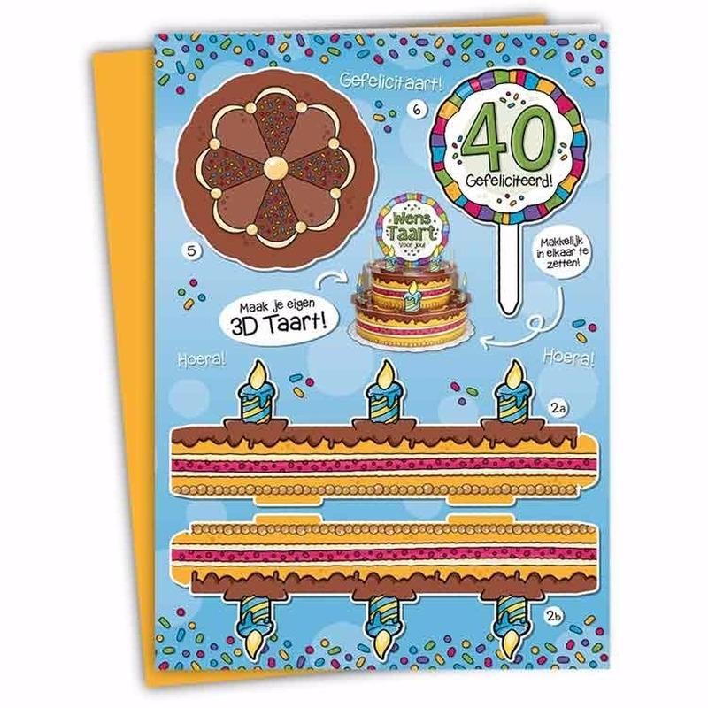 XXL 3D taart kaart 40 jaar