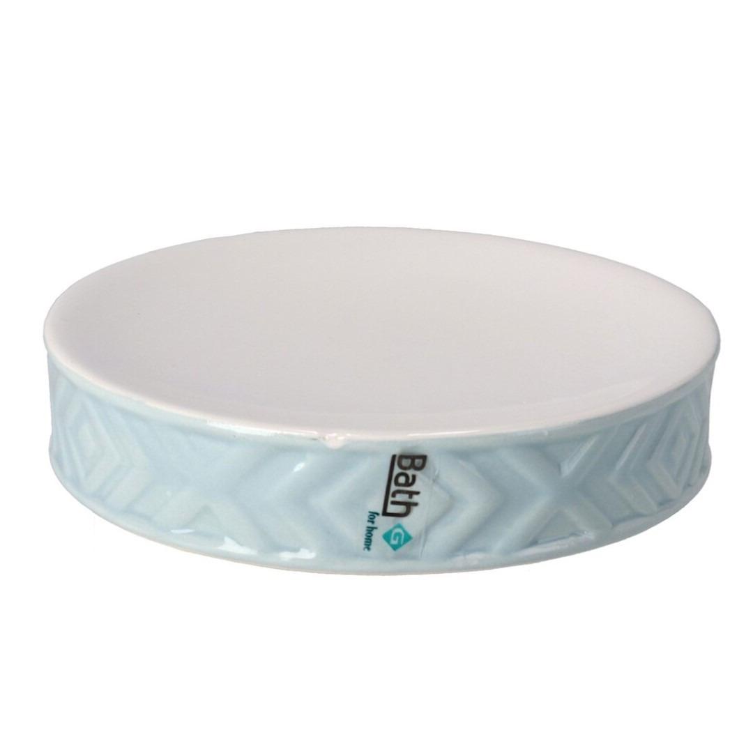 Zeephouder-zeepbakje blauw-wit keramiek 10 cm