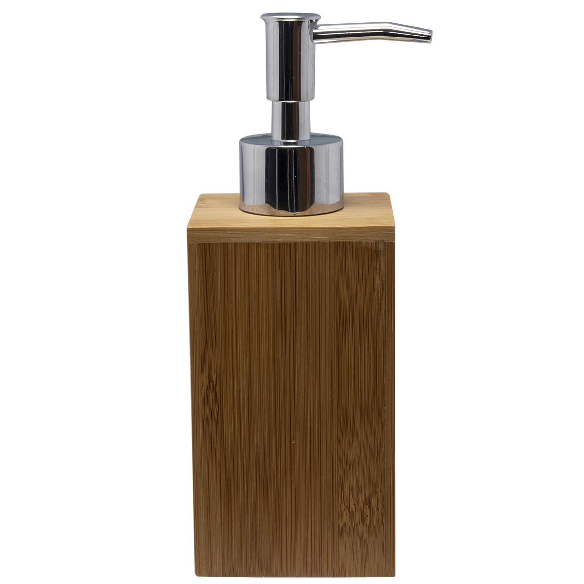 Zeeppompje-zeepdispenser bruin van bamboe 17 cm