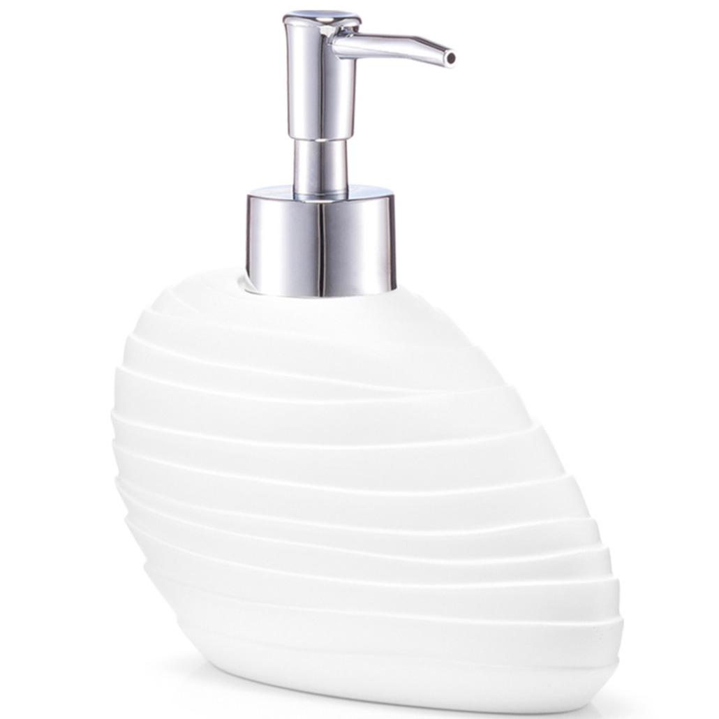 Zeeppompje-zeepdispenser wit abstract polyresin 17 cm