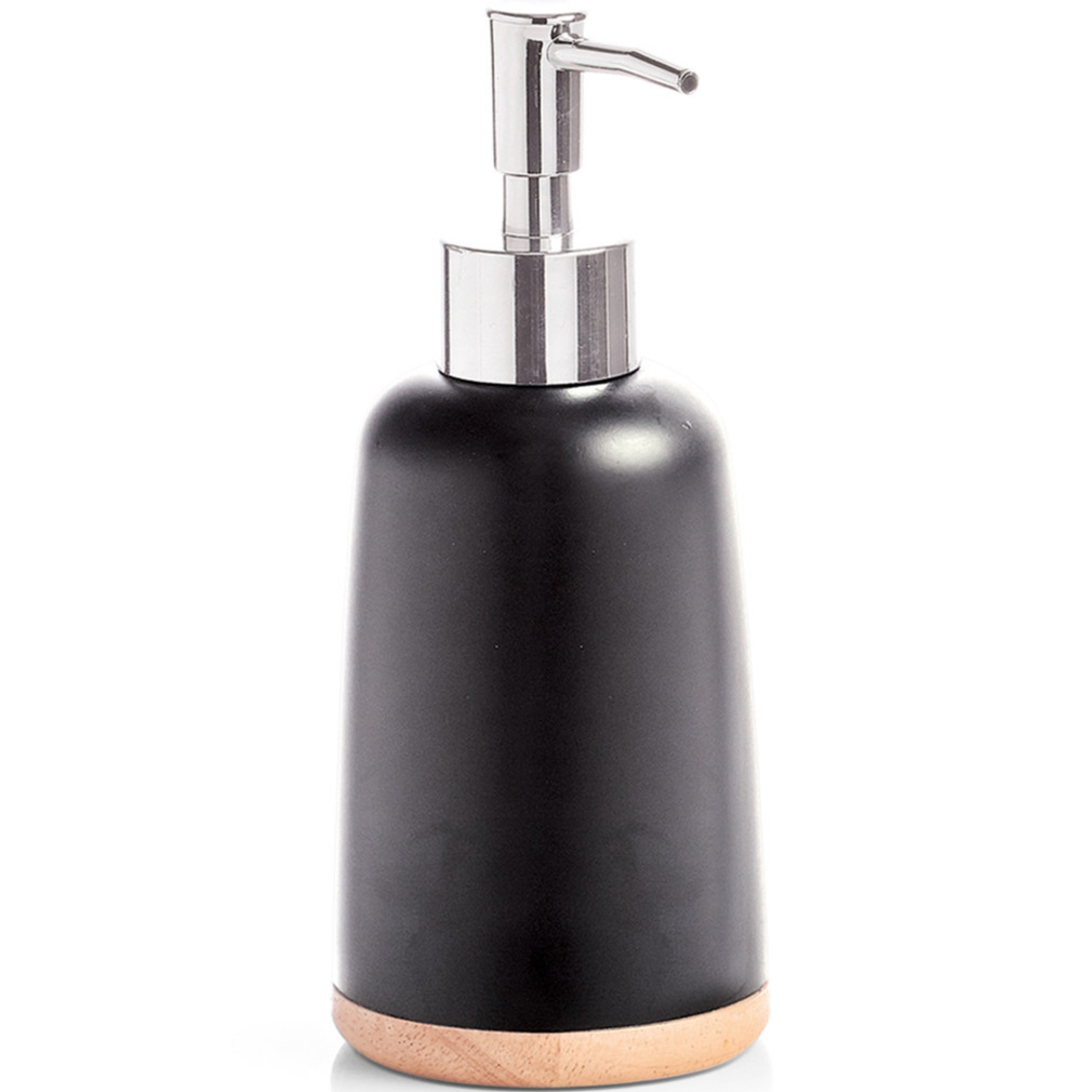 Zeeppompje-zeepdispenser zwart polyresin 17 cm